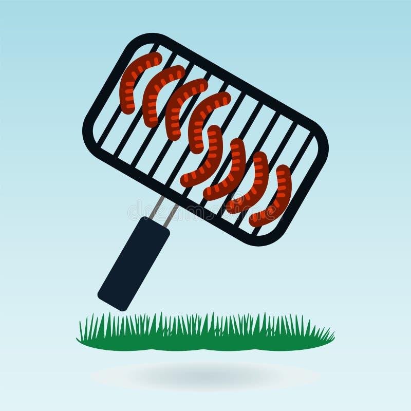 grill Piec na grillu kiełbasa ilustracja wektor