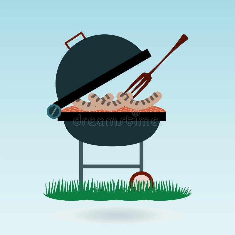 grill Piec na grillu kiełbasy na rozwidleniach ilustracja wektor