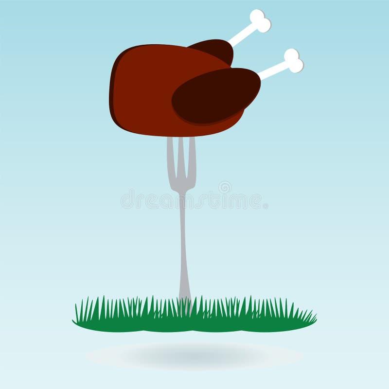 grill Piec na grillu kurczak na rozwidleniach ilustracja wektor