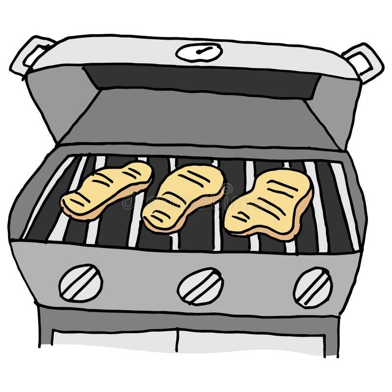 Grill piec na grillu kurczak piersi royalty ilustracja