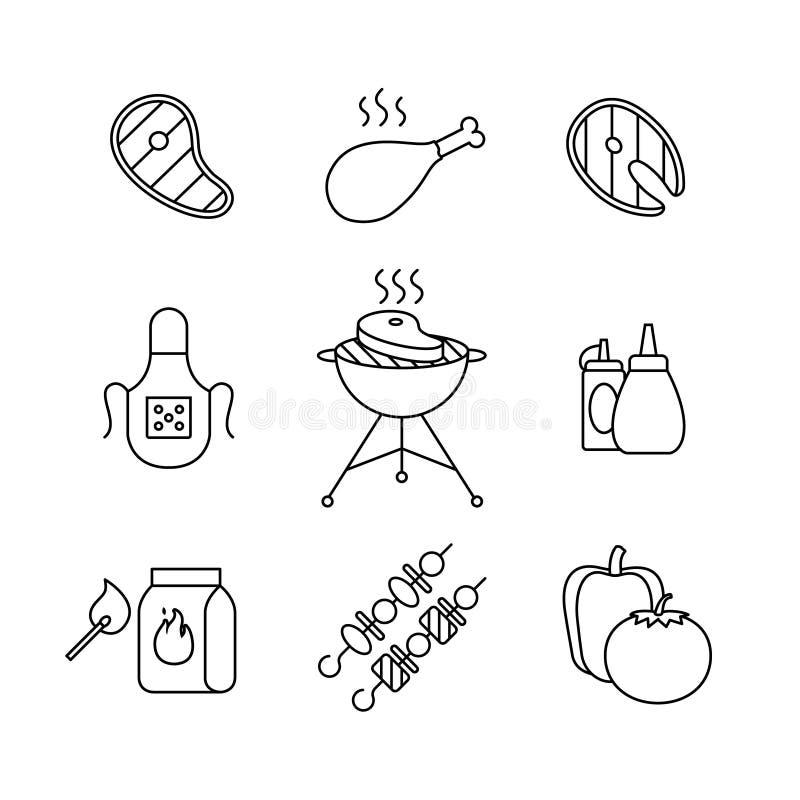 Grill, plenerowy mięso i rybi stek, piec na grillu royalty ilustracja