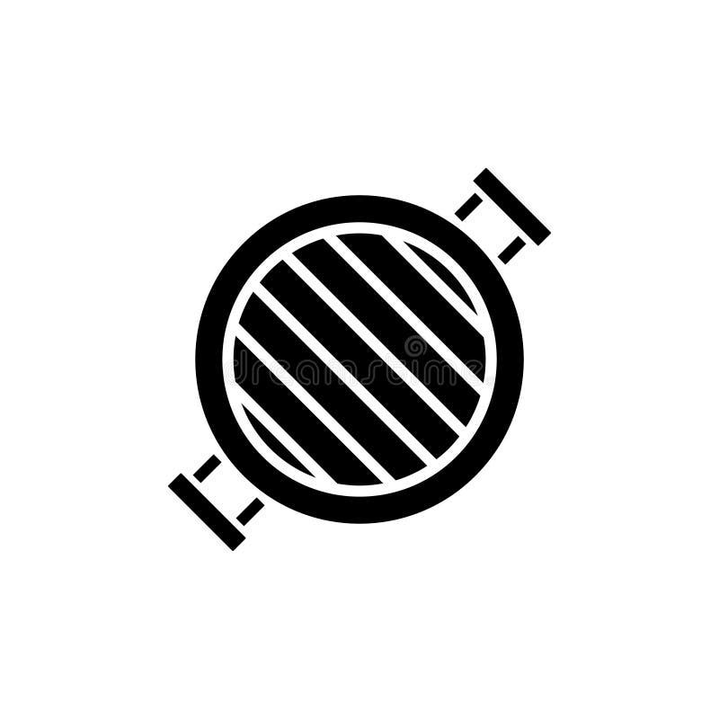 Grill round icon, vector illustration, black sign on isolated background vector illustration