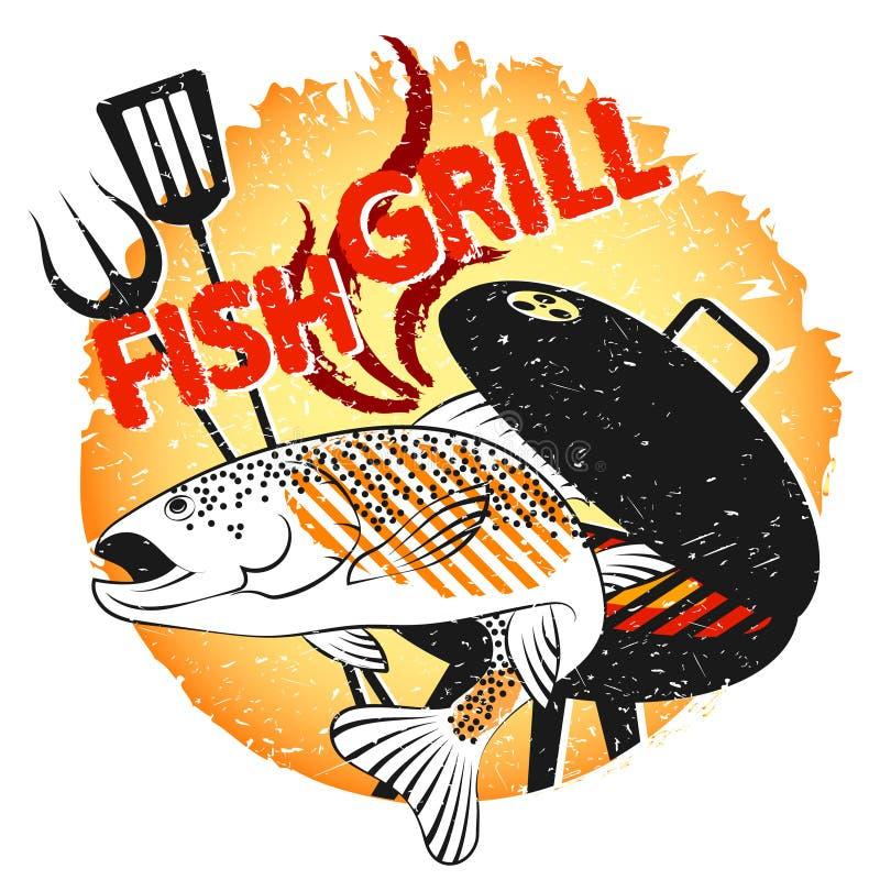 Grill ryby projekt dla grilla ilustracja wektor