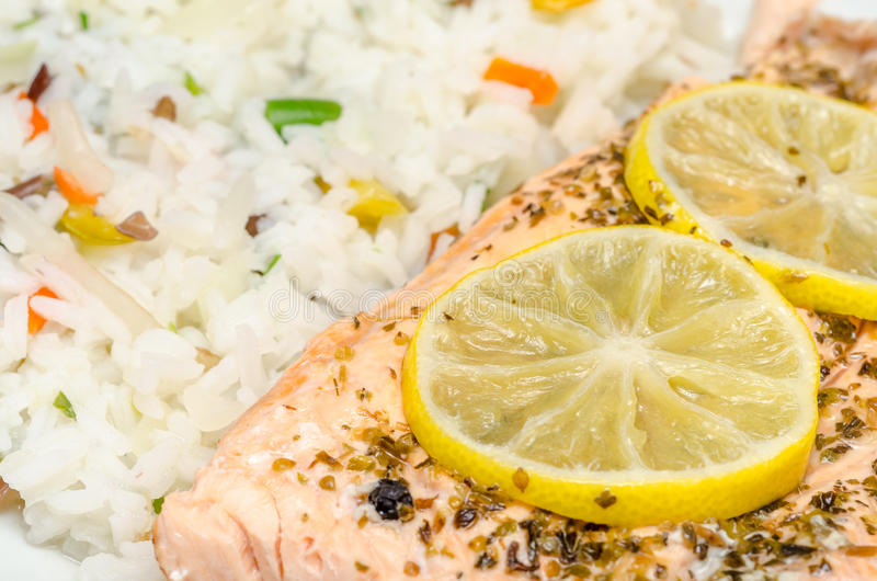 Grill Salmon With Rice Royalty Free Stock Photos
