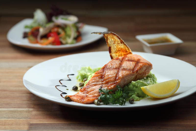Grill Salmon royalty free stock image