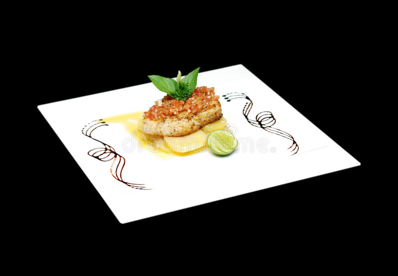 Grill Sea Bass. With Lemon Sauce, selective focus stock images