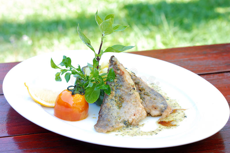 Grill Sea bass. With Pepper Sauce stock images