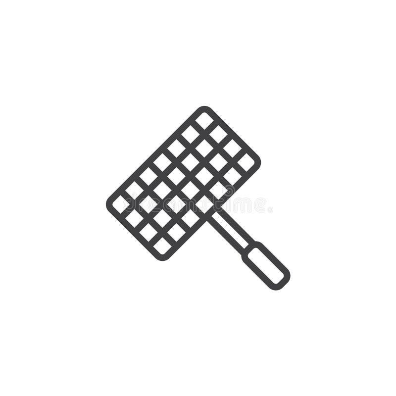 Grill, grill siatki linii stalowa ikona ilustracja wektor