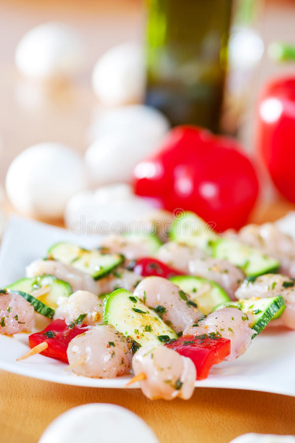 Grill spit. With chicken and vegetables stock image