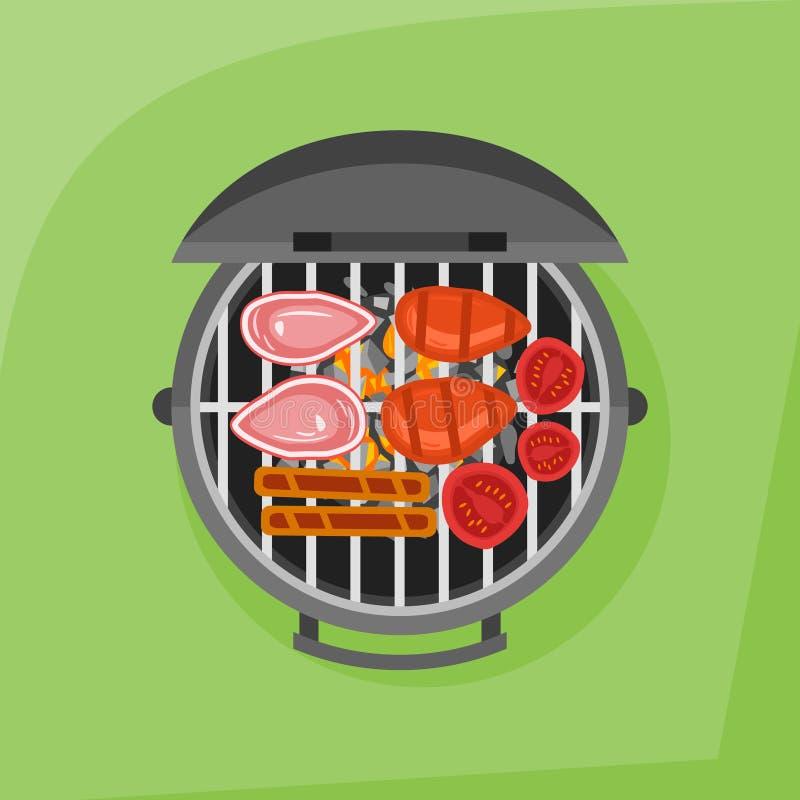 Grill, stek, kiełbasa i pomidor piec na grillu, Odgórny widok ilustracji