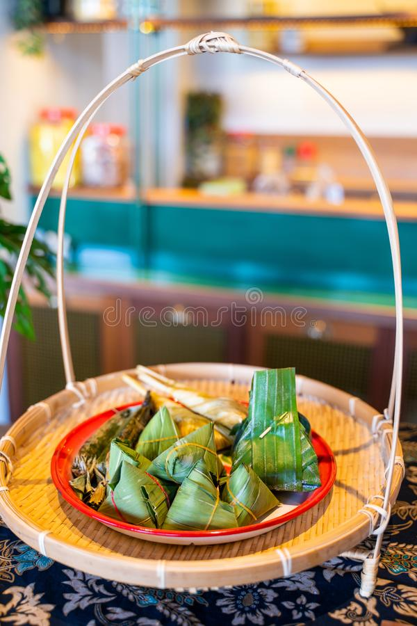 Grill sticky rice in banana leave. Thai dessert stock photos