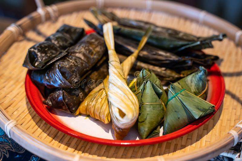 Grill sticky rice in banana leave. Thai dessert royalty free stock photos