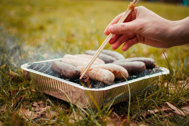 Grill summer meat sausages bbq royalty free stock photo