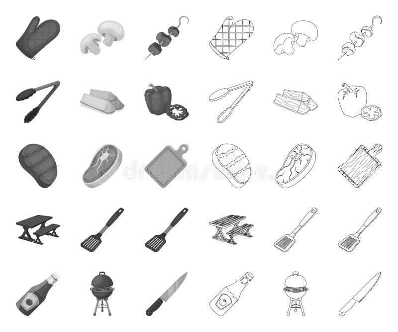 Grill und Ausrüstung mono, Entwurfsikonen in gesetzter Sammlung für Entwurf Picknicken Sie und briet Lebensmittelvektorsymbol-Vor stock abbildung
