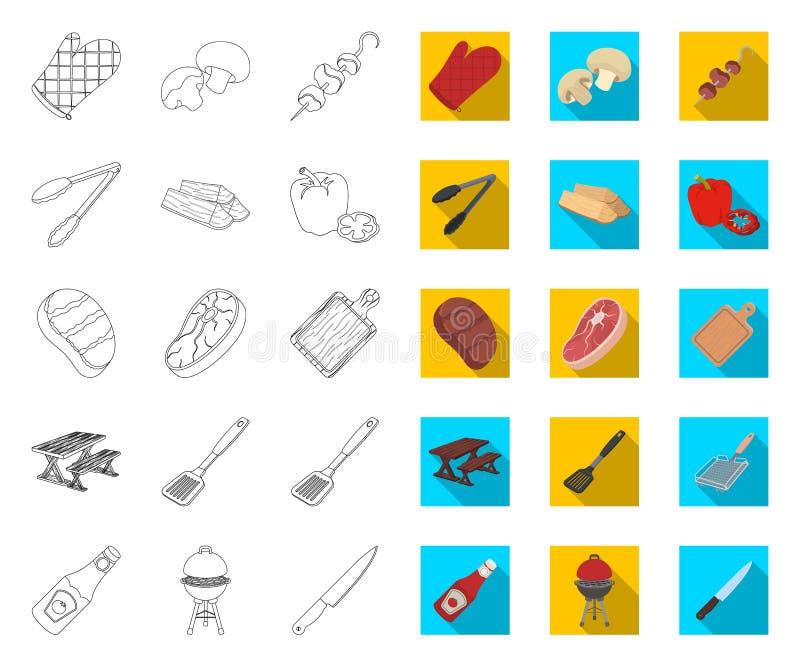 Grill- und Ausrüstungsentwurf, flache Ikonen in gesetzter Sammlung für Entwurf Picknicken Sie und briet Lebensmittelvektorsymbol- vektor abbildung