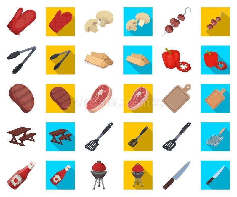 Grill- und Ausrüstungskarikatur, flache Ikonen in gesetzter Sammlung für Entwurf Picknicken Sie und briet Lebensmittelvektorsymbo stock abbildung
