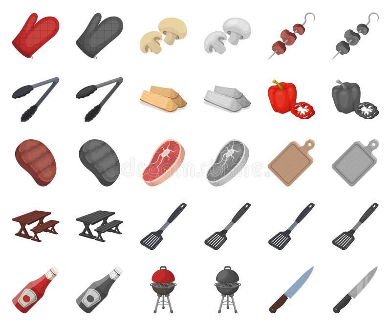 Grill- und Ausrüstungskarikatur, monochrom Ikonen in gesetzter Sammlung für Entwurf Picknick und gebratener Nahrungsmittelvektors vektor abbildung
