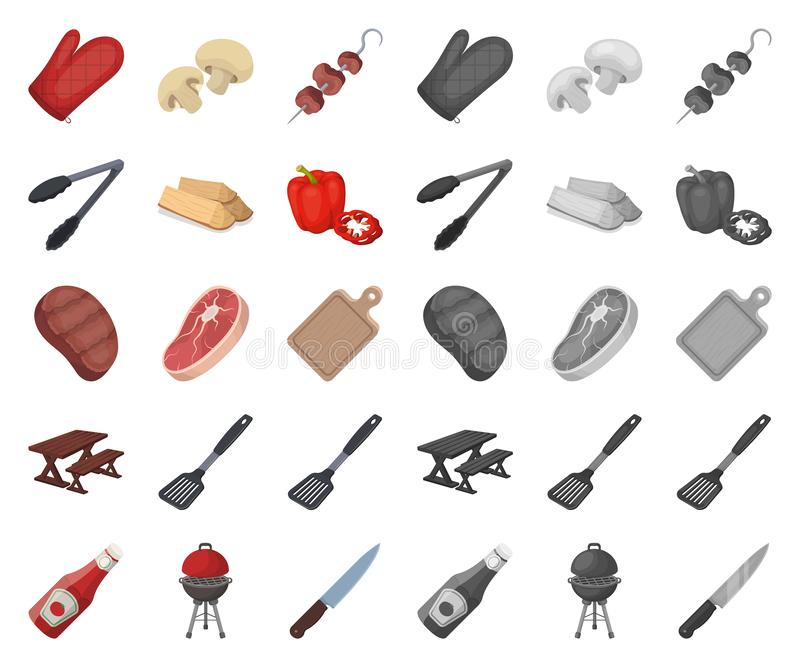 Grill- und Ausrüstungskarikatur, Monoikonen in gesetzter Sammlung für Entwurf Picknicken Sie und briet Lebensmittelvektorsymbol-V lizenzfreie abbildung