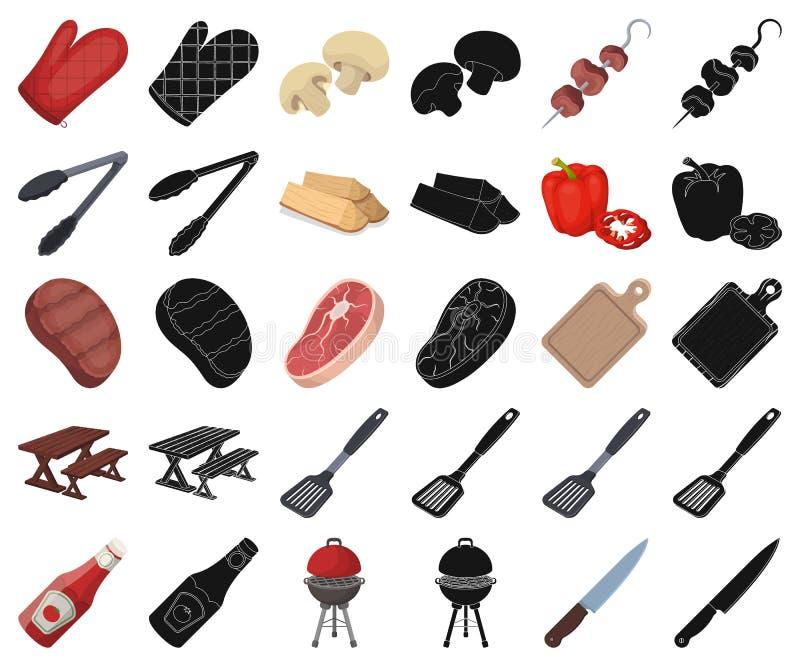 Grill- und Ausrüstungskarikatur, schwarze Ikonen in gesetzter Sammlung für Entwurf Picknicken Sie und briet Lebensmittelvektorsym vektor abbildung