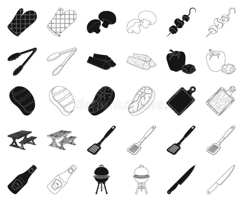 Grill- und Ausrüstungsschwarzes, Entwurfsikonen in gesetzter Sammlung für Entwurf Picknicken Sie und briet Lebensmittelvektorsymb lizenzfreie abbildung
