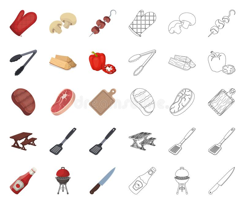 Grill- und Ausr?stungskarikatur, Entwurfsikonen in gesetzter Sammlung f?r Entwurf Picknicken Sie und briet Lebensmittelvektorsymb stock abbildung
