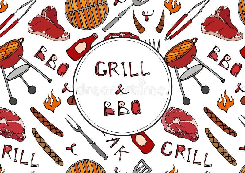 Grill und BBQ-Beschriftung Nahtloses Muster der Sommer BBQ-Grill-Partei Steak, Wurst, Grill-Gitter, Zangen, Gabel, Feuer, Ketschu stock abbildung