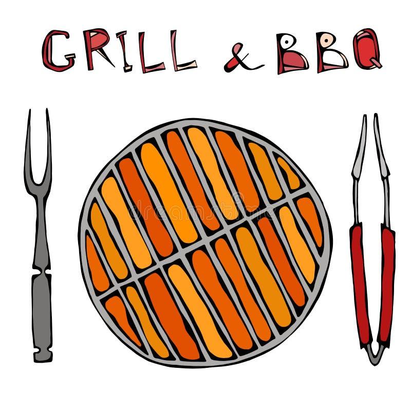 Grill und BBQ leer auf Feuer Picknick und Grill mit Flammen-, BBQ-Gerätezangen und Gabel Im Freienparty Hand gezeichnete Abbildun stock abbildung