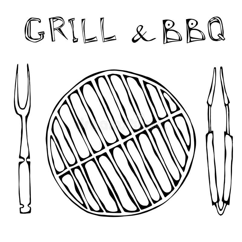 Grill und BBQ leer Picknick und Grill-Gerätezangen und -gabel Im Freienparty Hand gezeichnete Abbildung Savoyar-Gekritzel-Art lizenzfreie abbildung