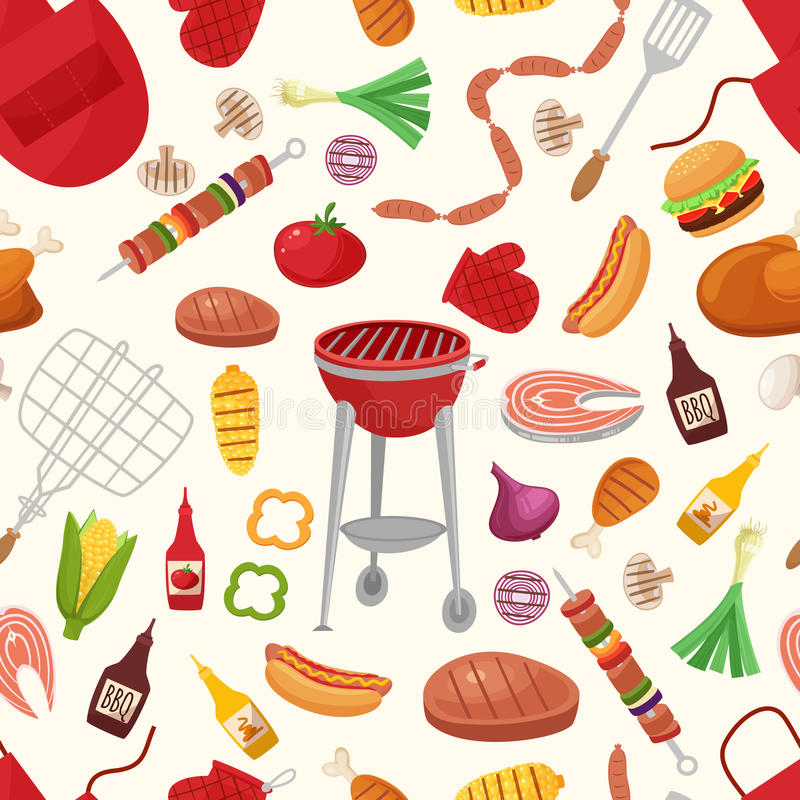 Grill und Grill für Hauptpartei-oder Restaurant-Hintergrund-Muster lizenzfreie abbildung