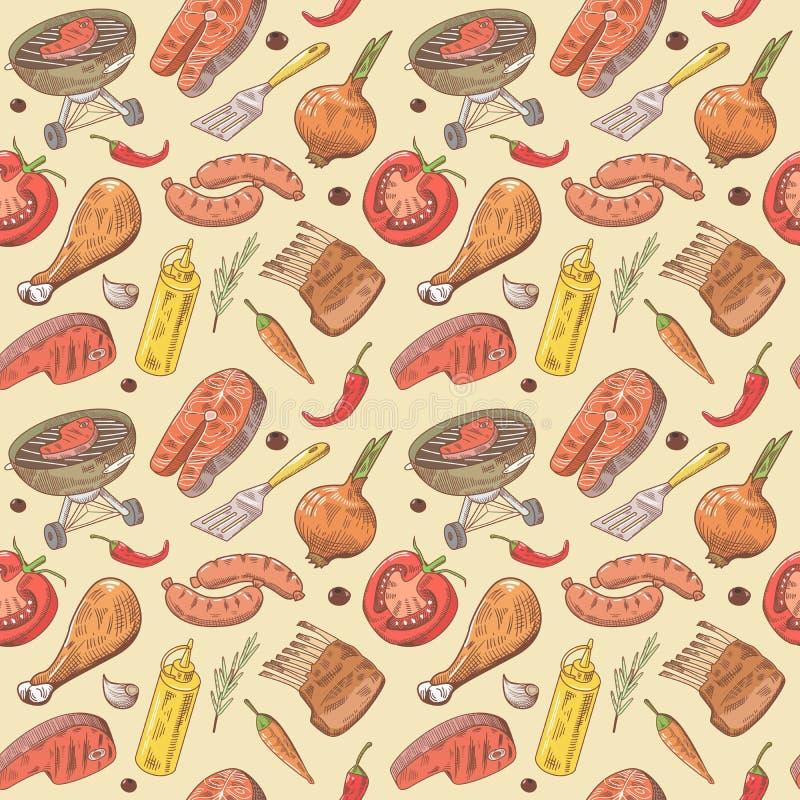 Grill-und Grill-Hand gezeichneter nahtloser Hintergrund mit Steak, Fleisch, Fischen und Gemüse Picknick-Partei-Muster stock abbildung