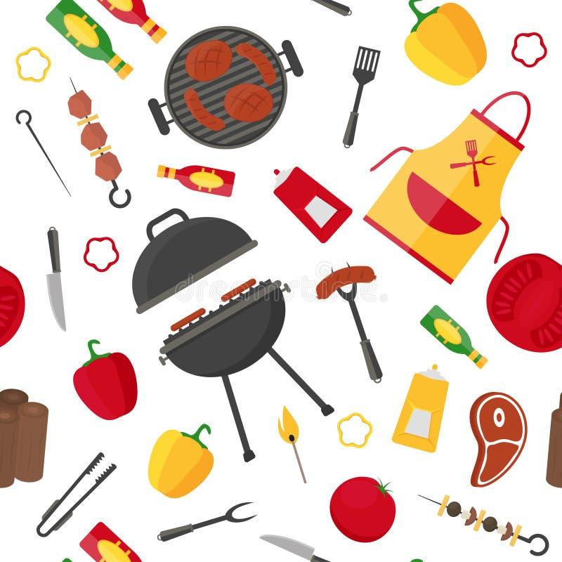 Grill-und Grill-Hintergrund-Muster Vektor lizenzfreie abbildung
