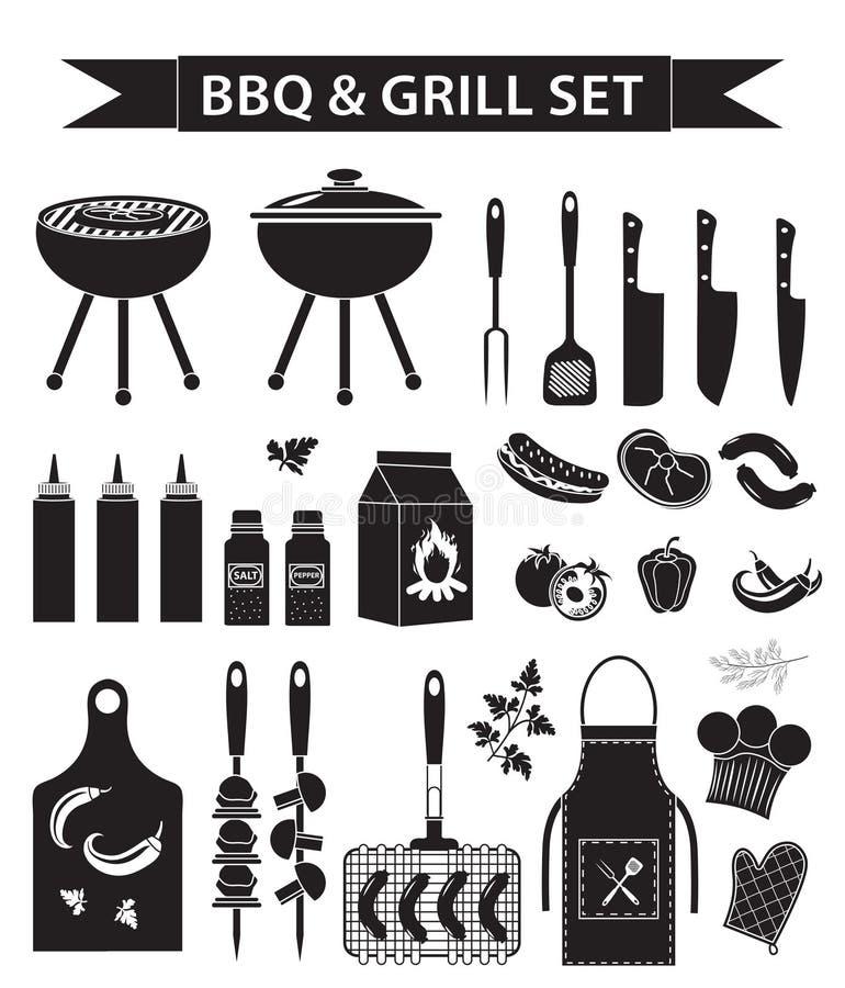 Grill- und Grillikonen stellten, schwarzes Schattenbild, Entwurfsart ein Bbq-Sammlung Gegenstände, Elemente des Designs, Logo stock abbildung