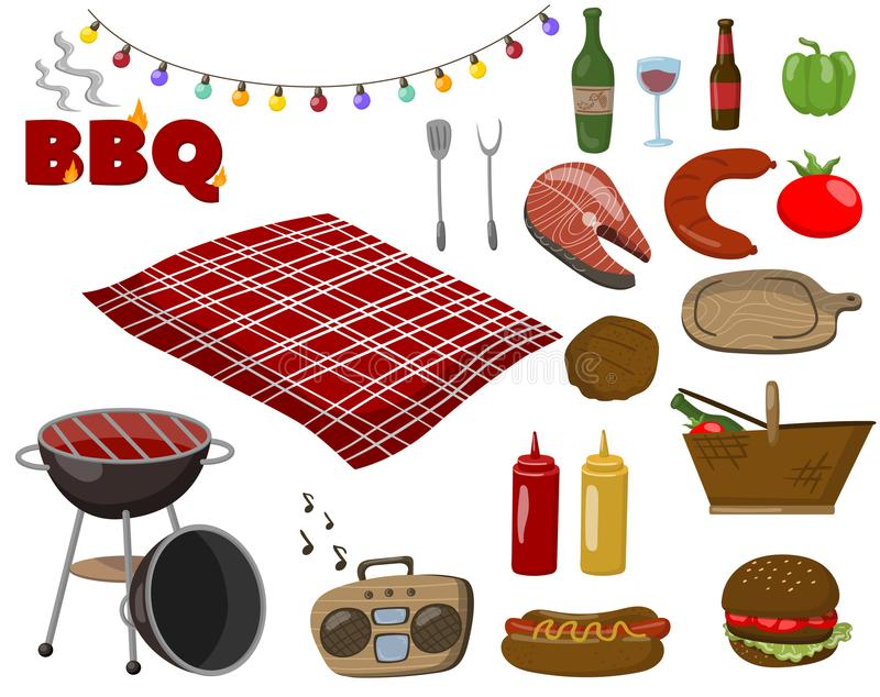 Grill- und Grillsammlungssatz, Picknicklebensmittelsymbole, Getränke, Steaks von den Fischen und Fleisch, Zubehör für eine bbq-Pa stock abbildung