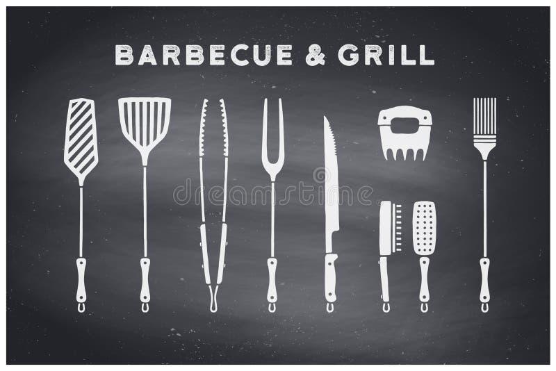 Grill- und Grillwerkzeuge lizenzfreie abbildung