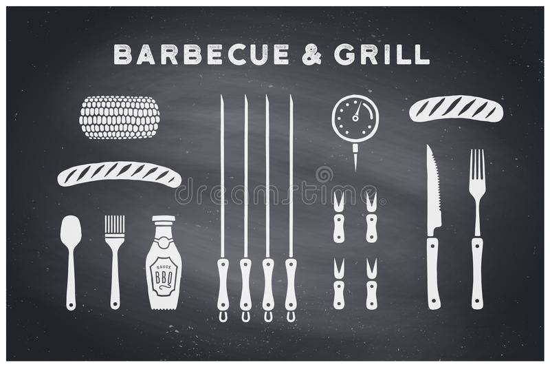 Grill- und Grillwerkzeuge stock abbildung