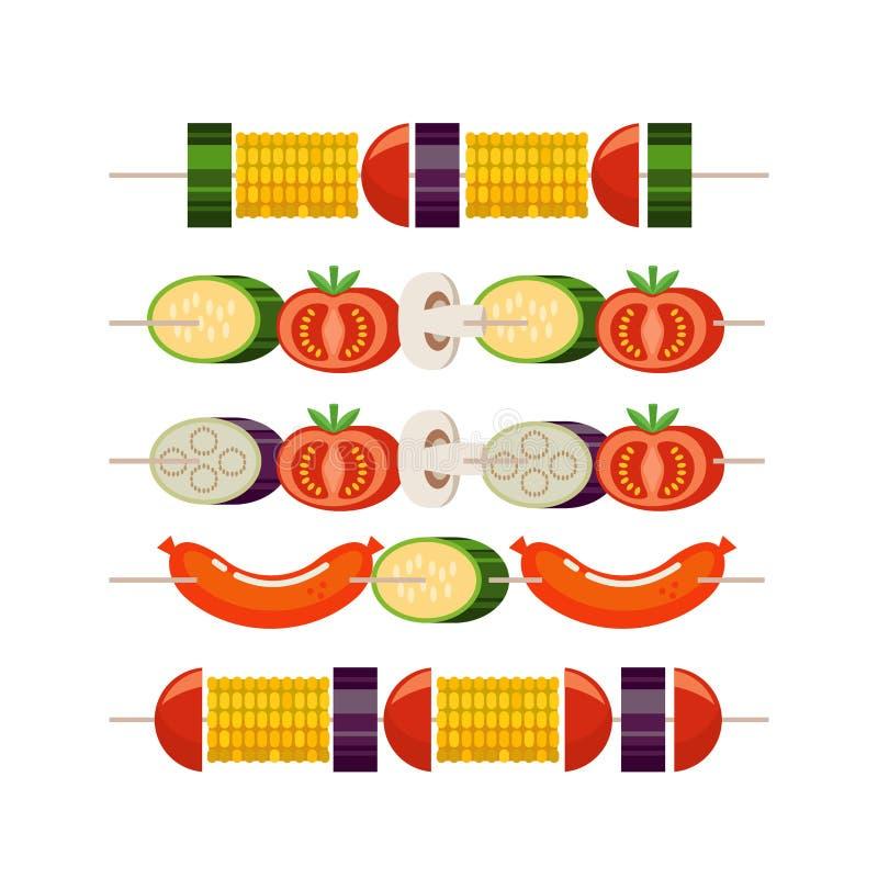 Grill und Grill kebabs aufsteckspindeln Vektorillustration in der flachen Art vektor abbildung