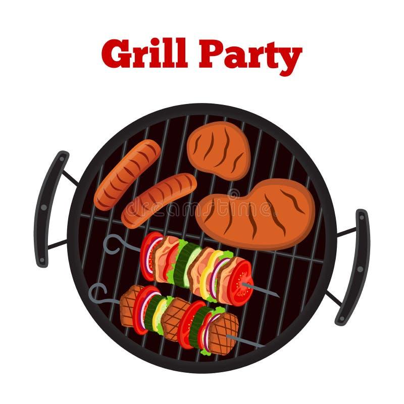 Grill ustawiający - piec na grillu stację, kiełbasa, smażący mięso, szaszłyk Wektorowy pinkin ilustracji