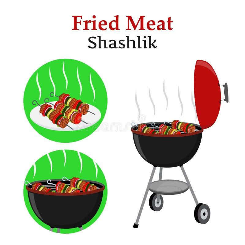 Grill ustawiający szaszłyk, kebab - piec na grillu stację, smażącego mięso i warzywa, - ilustracji