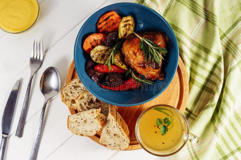 Grill Vegetables Chicken Bread and Mustard Sauce royalty free stock photo