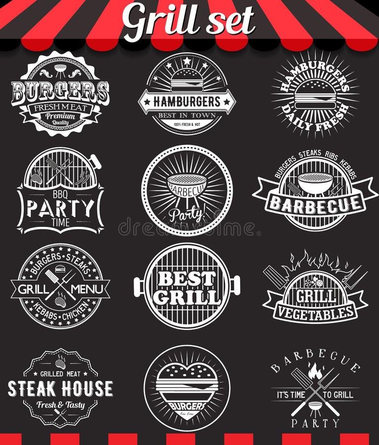 Grill vintage design elements and badges set on chalkboard vector illustration