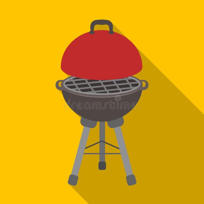 Grill voor barbecue BBQ enig pictogram in het vlakke Web van de de voorraadillustratie van het stijl vectorsymbool vector illustratie