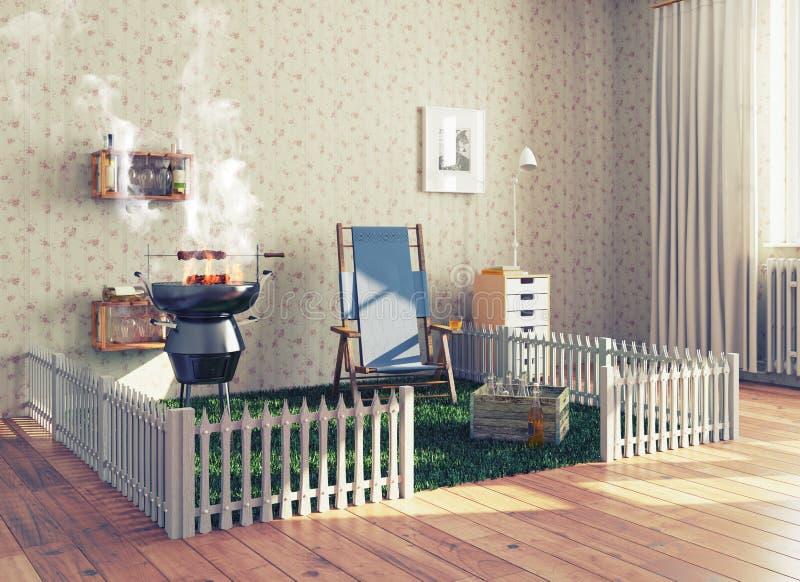 Grill w żywym pokoju ilustracja wektor