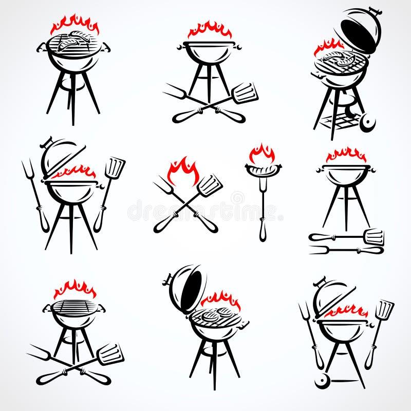 Grill?w elementy i Inkasowy ikona grill wektor ilustracji