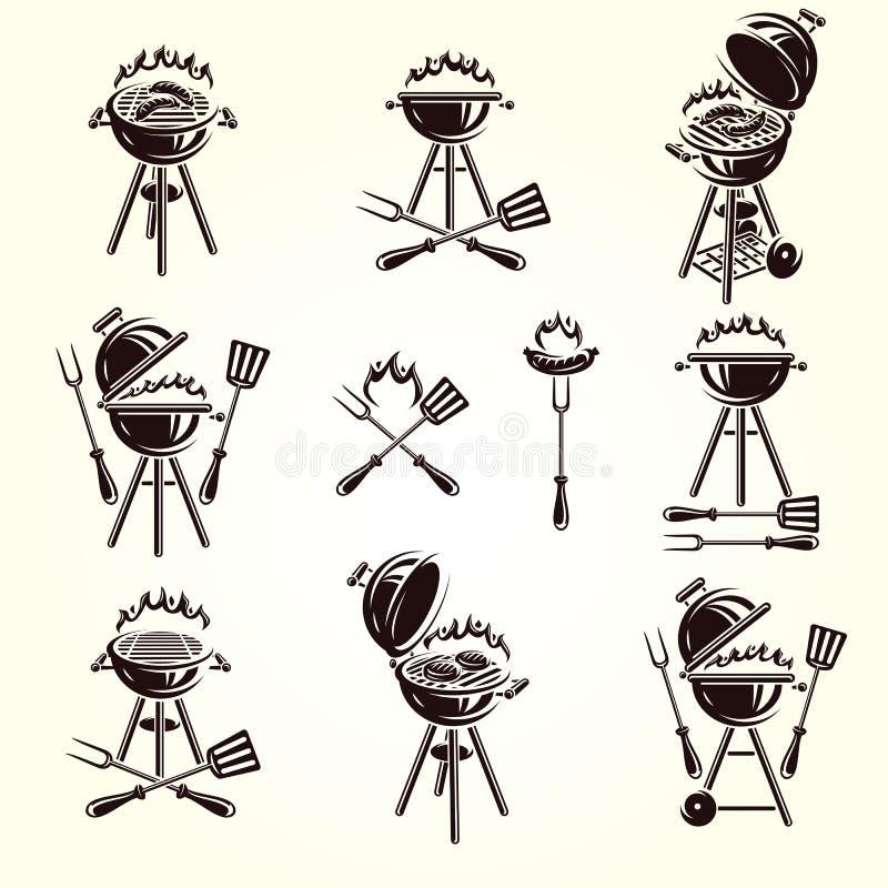 Grill?w elementy i Inkasowy ikona grill wektor ilustracja wektor