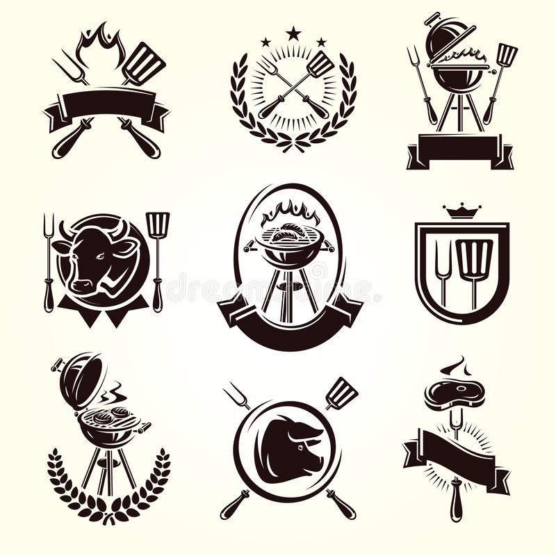 Grill?w elementy i Inkasowy ikona grill wektor royalty ilustracja