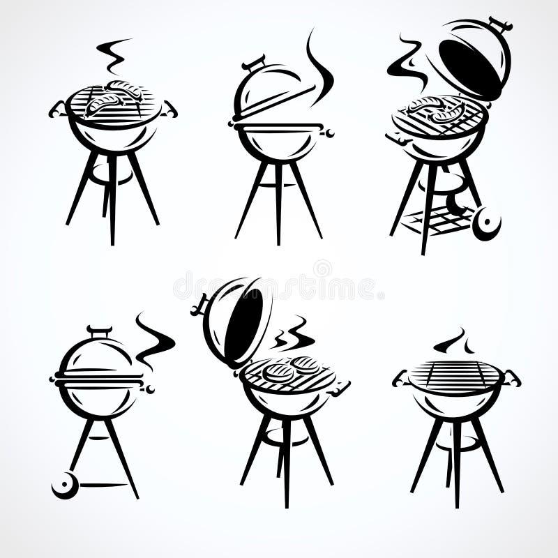 Grill?w elementy ustawiaj?cy Inkasowy ikona grill wektor ilustracji