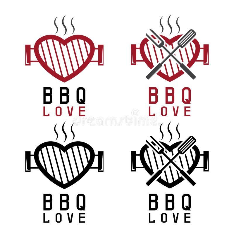 Grill w postaci serca i bbq narzędzi Szczęśliwy walentynki ` s ilustracja wektor