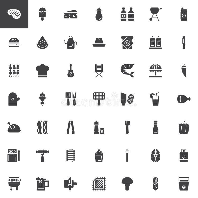 Grill wektorowe ikony ustawiać ilustracji