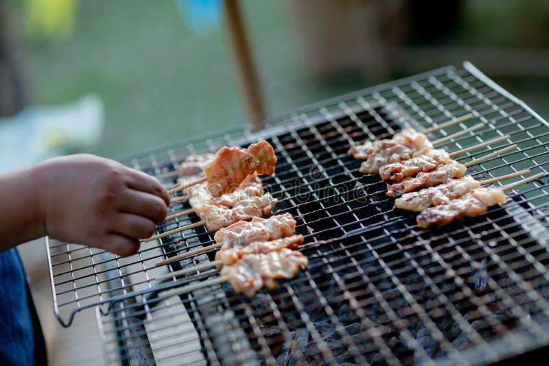Grill wieprzowiny grzanki grill lub grzanki wieprzowina z Tajlandzkim garnirunku odżywiania przygotowaniem dla gotować Tajlandzki fotografia royalty free