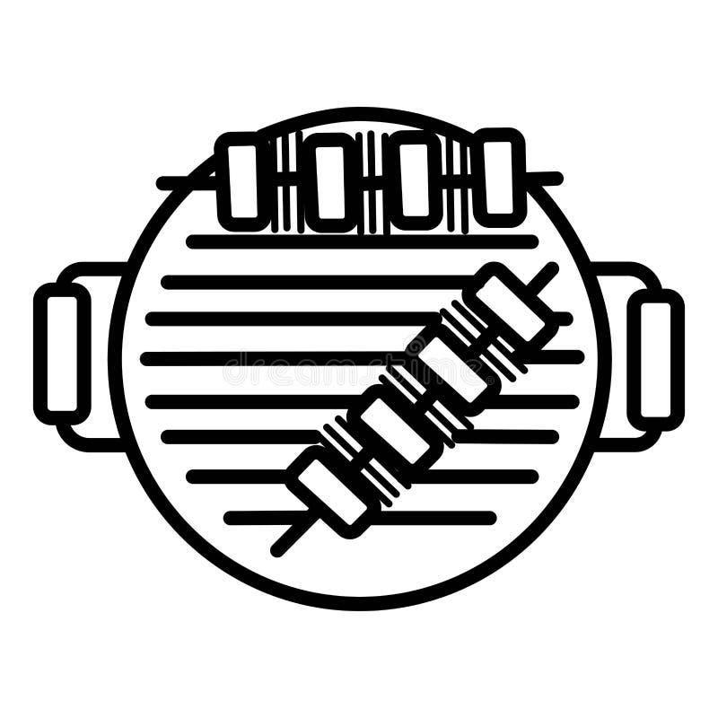 Grill z piec na grillu skewer ikoną royalty ilustracja